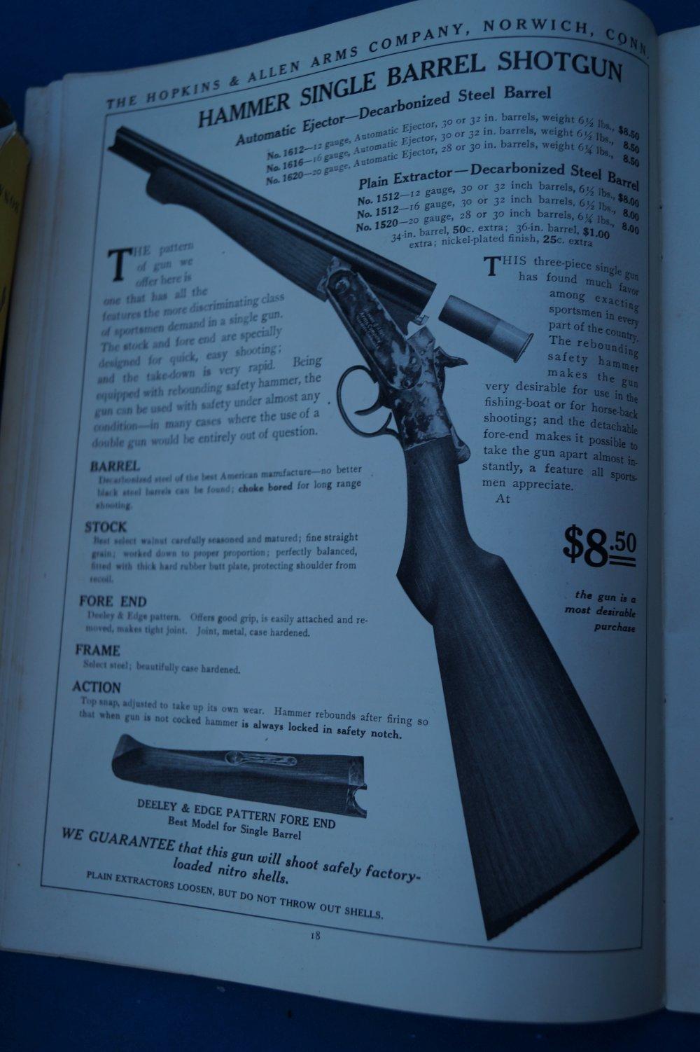Antique Arms, Inc  - Rare Hopkins & Allen 1908-09 Full Catalog & Flyer